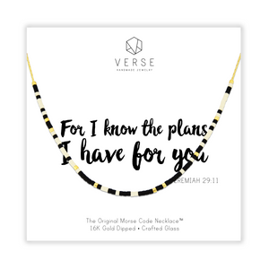 For I Know The Plans I Have For You Morse Code Chain Necklace