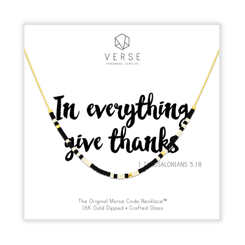 In Everything Give Thanks Morse Code Chain Necklace