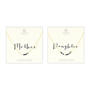 Mother & Daughter Morse Code Chain Necklace Set