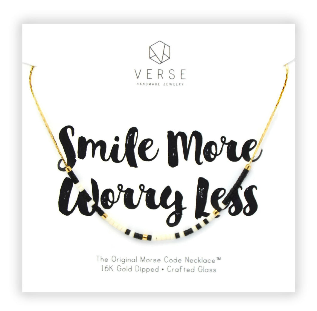 Smile More Worry Less Morse Code Chain Necklace