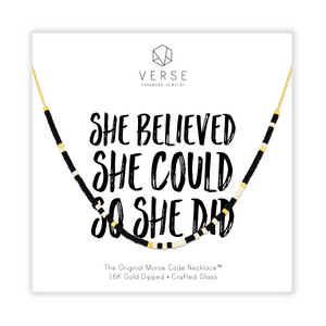 She Believed She Could So She Did Morse Code Chain Necklace