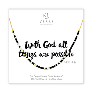 With God All Things Are Possible Morse Code Chain Necklace