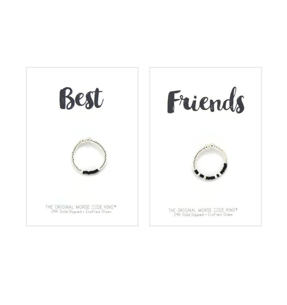 Best Friends Morse Code Ring Set