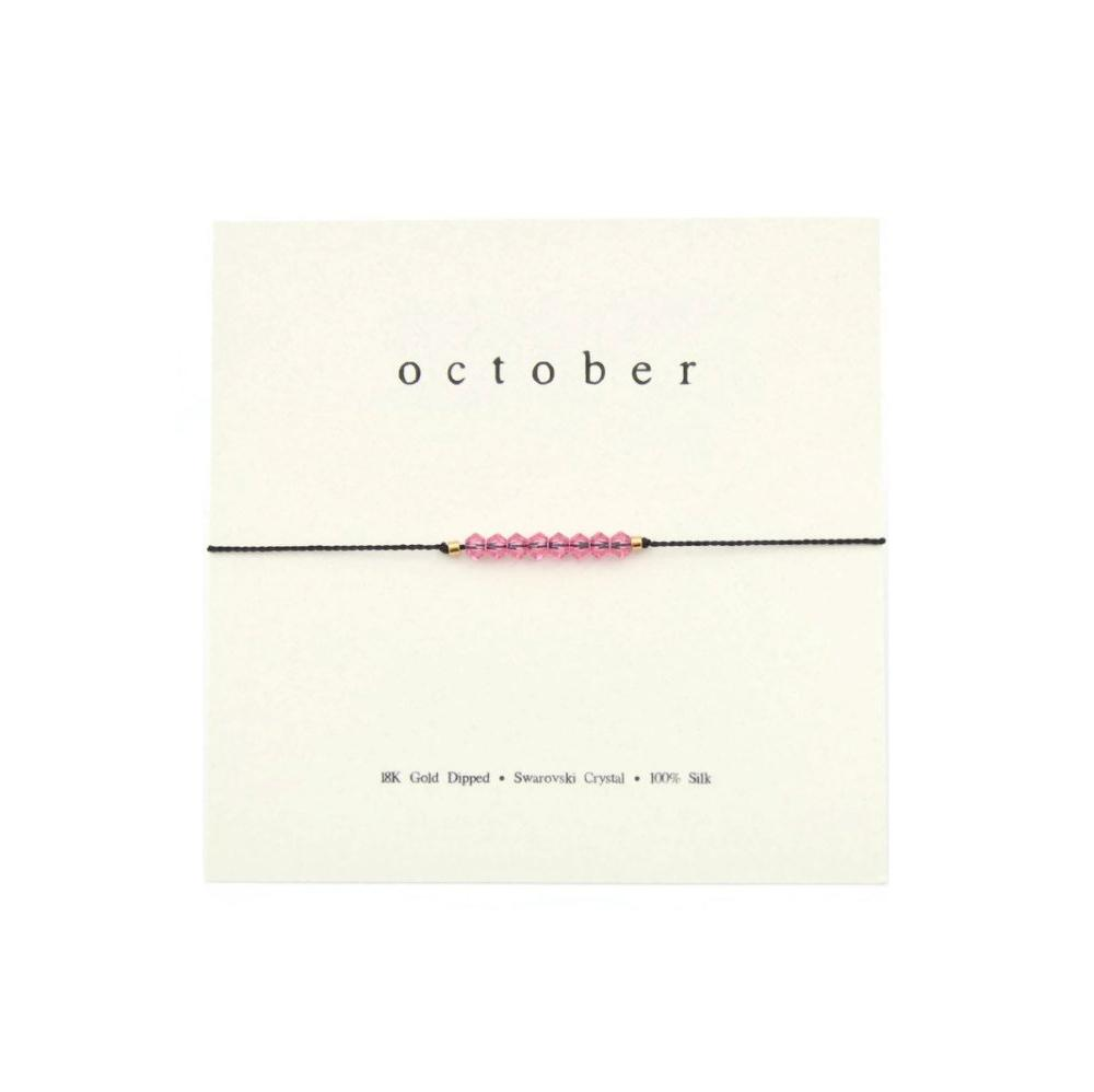 October Birthstone Adjustable Silk Bracelet