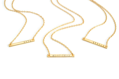 Personalized Date Small Bar Chain Necklace
