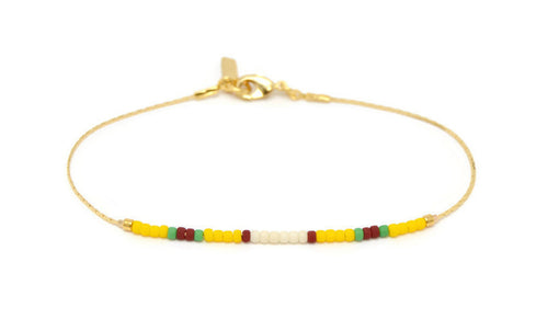 Penelope - Yellow and Red Beaded Bracelet