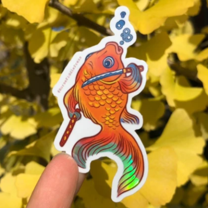 Golden Fish Samurai Vinyl Sticker