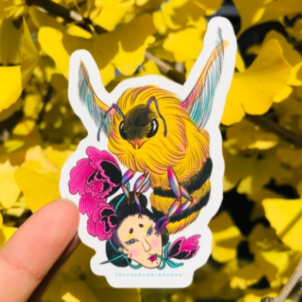 Geisha and Bee Vinyl Sticker
