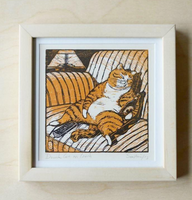 Drunk Cat On The Couch Woodblock Print
