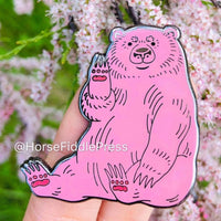 Hello Bear Pink Enamel Pin