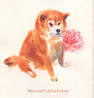 Shiba inu watercolour Prints set