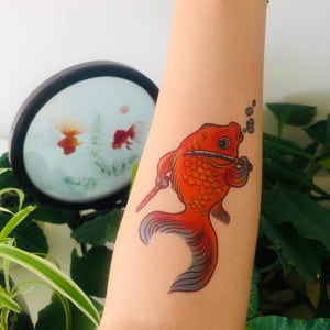 Fish with sword temporary tattoo