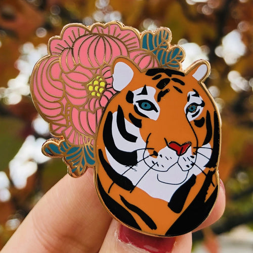 Tiger with peony enamel pin