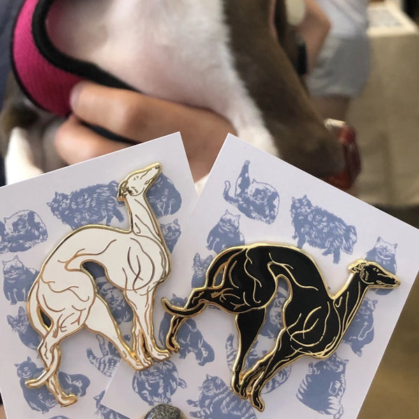 Muscular Greyhound Enamel Pin