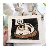 Round Cat Woodblock Print