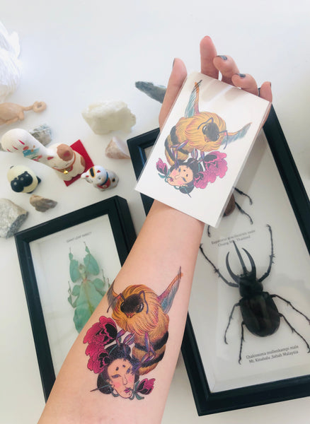 Bee and geisha temporary tattoo