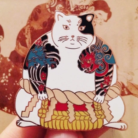 Yakuza Sumo Cat Enamel Pin