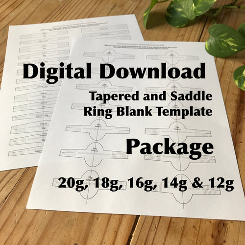 Ring Blank Template Package, Saddle and Tapered—Digital Download