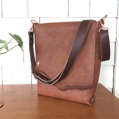 Handstitched Mid-Brown Leather Shoulder Bag II, ready-to-ship