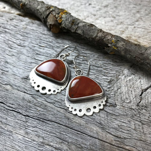 Lacey Red Jasper Earrings, ready to ship