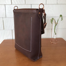 Handstitched Dark Brown Leather Shoulder Bag, ready-to-ship
