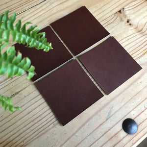 Square Leather Coaster, S.B. Foot—Premium Teak