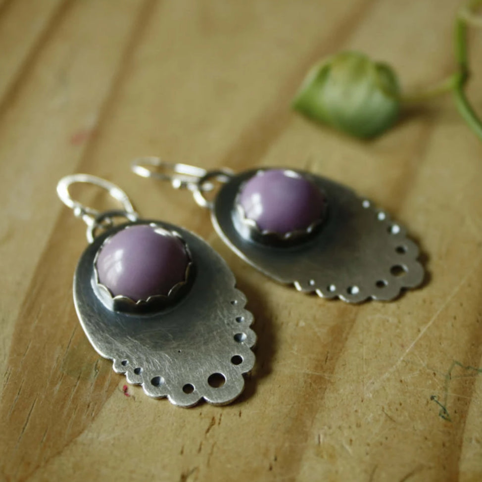 Purple Lacey Earrings—Sterling Silver and Round Purple Mystery Stone Earrings—Ready-to-Ship