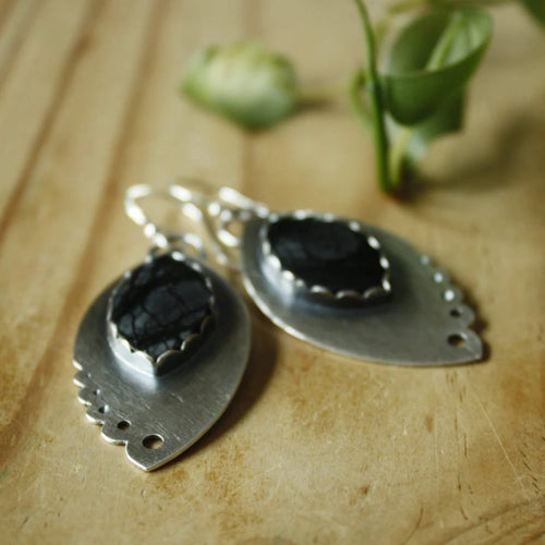 Black Lacey Earrings—Sterling Silver and Marquise Black and Grey Picasso Jasper Earrings—Ready-to-Ship