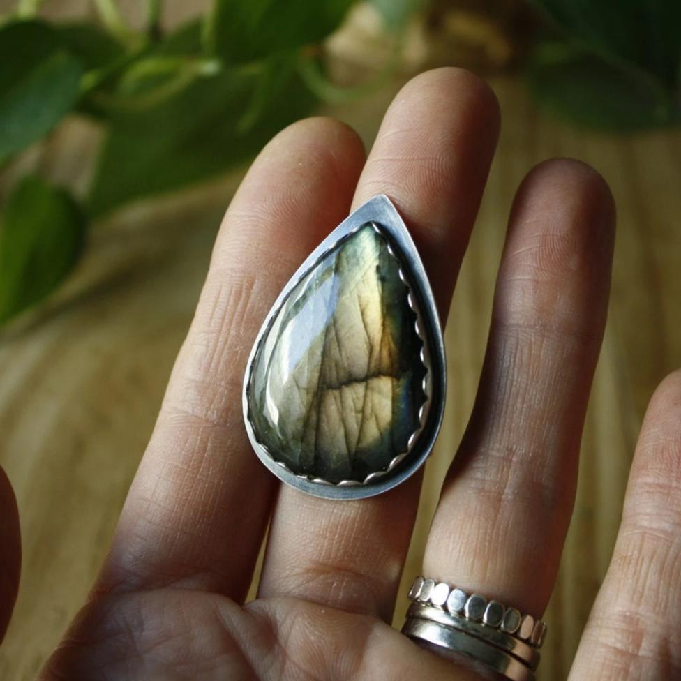 Labradorite Teardrop Ring—US 8.5/8.75—Sterling Silver Statement Ring—Ready-to-Ship
