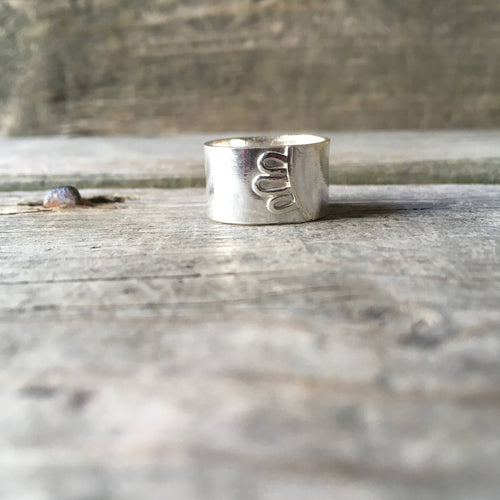 Silver Floral Ring—US 7.25—Wide Silver Efflorescence Band I—Silver Flower Petals on a Wide Silver Ring—Ready-to-Ship