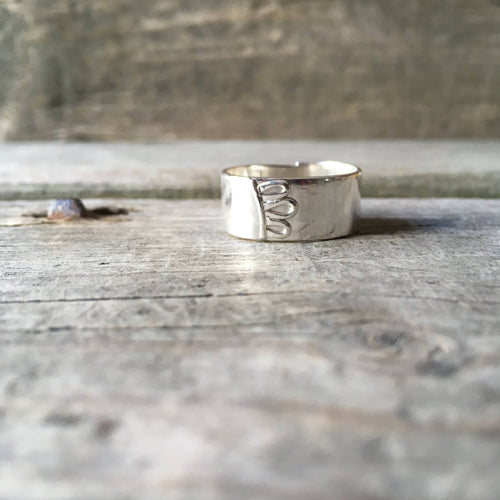 Silver Floral Ring—US 10—Wide Silver Efflorescence Band II—Silver Flower Petals on a Wide Silver Ring—Ready-to-Ship