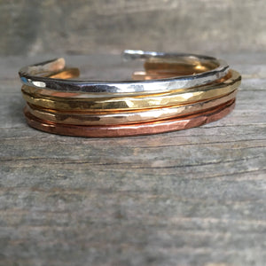 Thick Hammered Cuff—You Choose—Brass, Bronze, Copper or Sterling Silver—Rustic and Textured—Made-to-Order