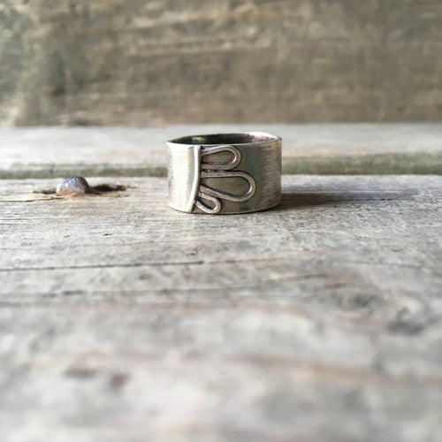 Silver Floral Ring—US 8.25—Wide Silver Efflorescence Band III—Silver Flower Petals on a Wide Silver Ring—Ready-to-Ship