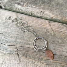 Rustic Leaf Necklace—Copper Stamped Leaf—Long Sterling Silver Rectangle Link Chain—Ready-to-Ship