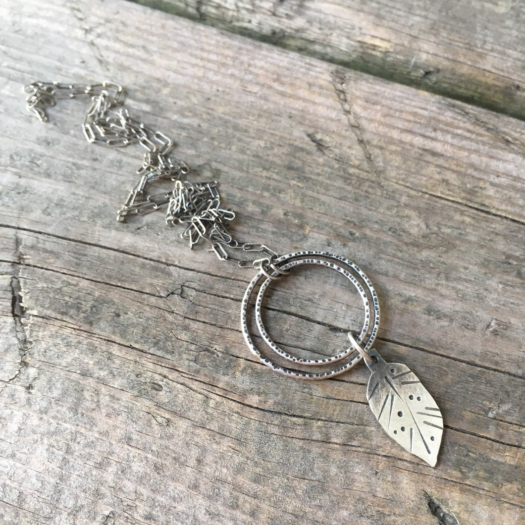 Rustic Leaf Necklace—Silver Stamped Leaf—Long Sterling Silver Textured Rectangle Link Chain—Ready-to-Ship