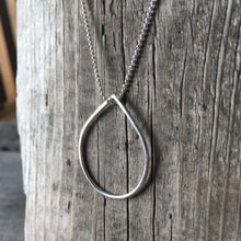 Silver Teardrop Pendant—Delicate Hammered Sterling Silver Teardrop Pendant—Ready-to-Ship