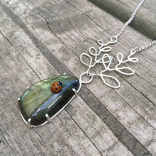 Long Labradorite Necklace—GROW Necklace II—Prong Set Smooth Freeform Labradorite—Adjustable Chain—Ready-to-Ship