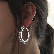 "Silver Petal Hoops—Efflorescence Statement Earrings—1 5/8"" Diameter Sterling Silver Post Hoop Earrings—Ready-to-Ship"