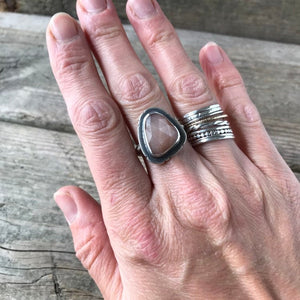 Peach Moonstone Ring—US 7.5—Sterling Silver Rosecut Peach Moonstone Ring—Ready-to-Ship
