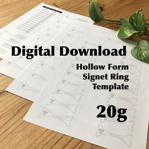 Hollow Form Signet Ring Template, US 1-14, 20g—Digital Download
