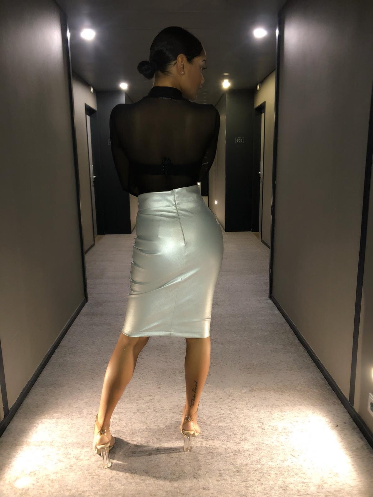 Curves honey vegan leather skirt