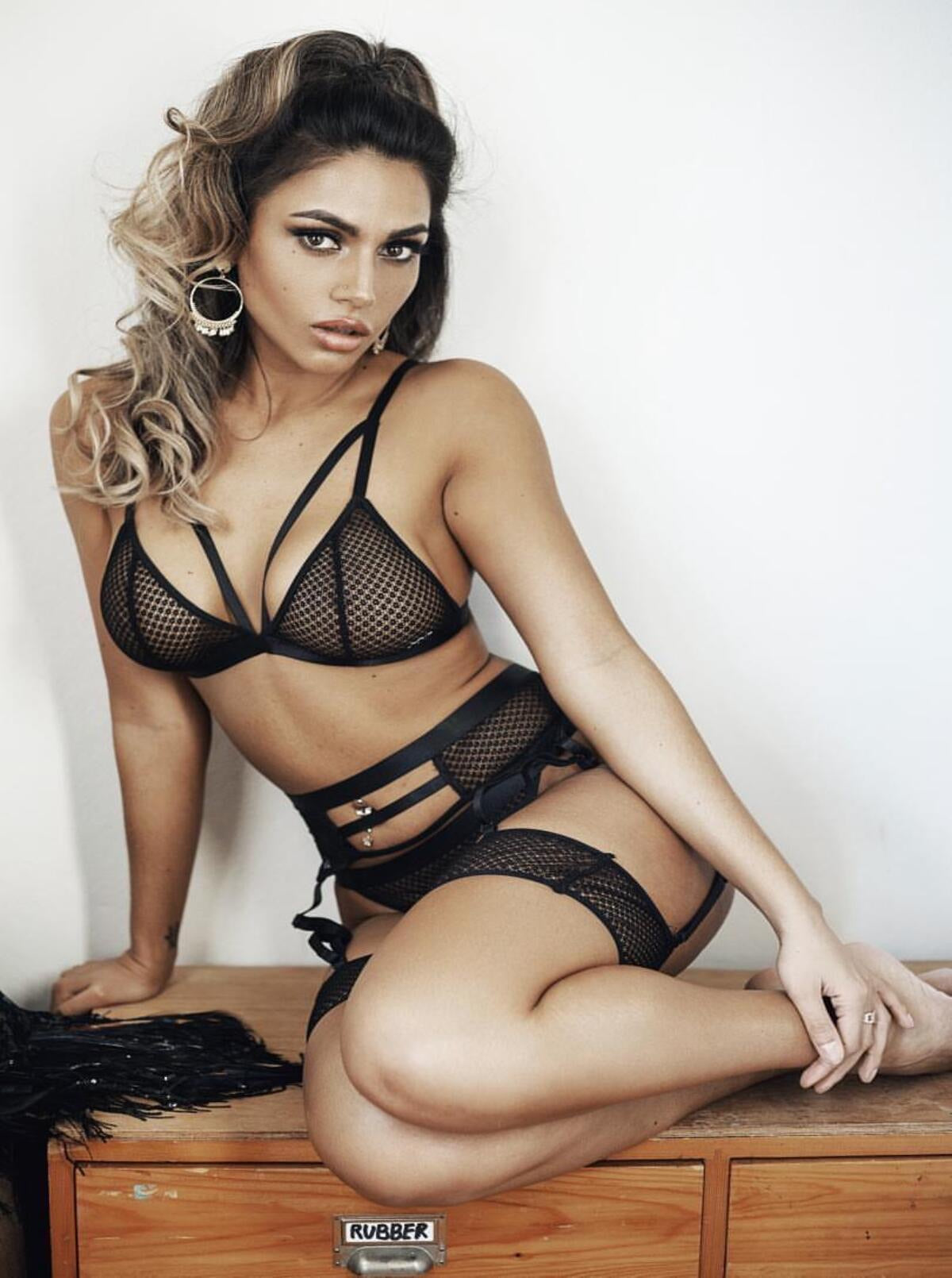Black Mesh 5 Piece Lingerie Set