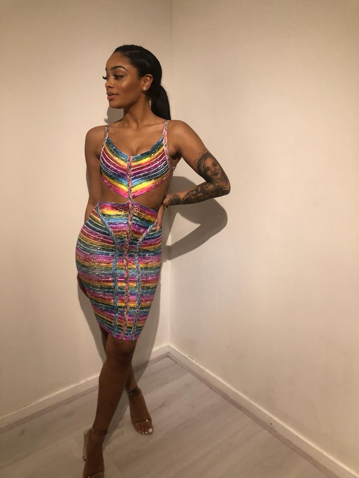 Ray of color bandage dress