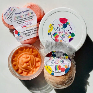 Orange CONFIDENCE Spa gift set including Treasure Bath Bomb, Shower Steamers, Sugar Scrub AND Lotion Bar with FREE shipping.