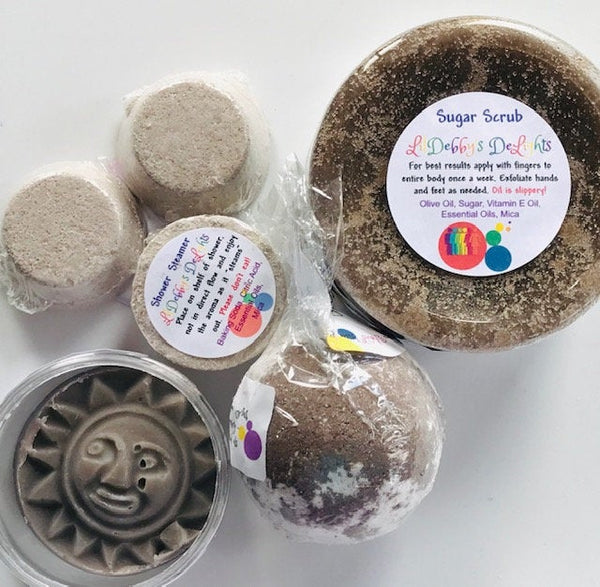 Brown STRENGTH Spa gift set including Treasure Bath Bomb, Shower Steamers, Sugar Scrub AND Lotion Bar with FREE shipping.