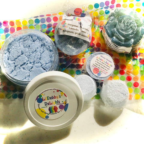 Blue SLEEP full size spa gift set including Treasure Bath Bomb, Shower Steamer, Sugar Scrub AND Lotion Bar with FREE shipping.