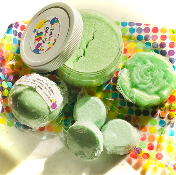 Green RELIEF full size Spa gift set including Treasure Bath Bomb, Shower SteamerS, Sugar Scrub AND Lotion Bar with FREE shipping.