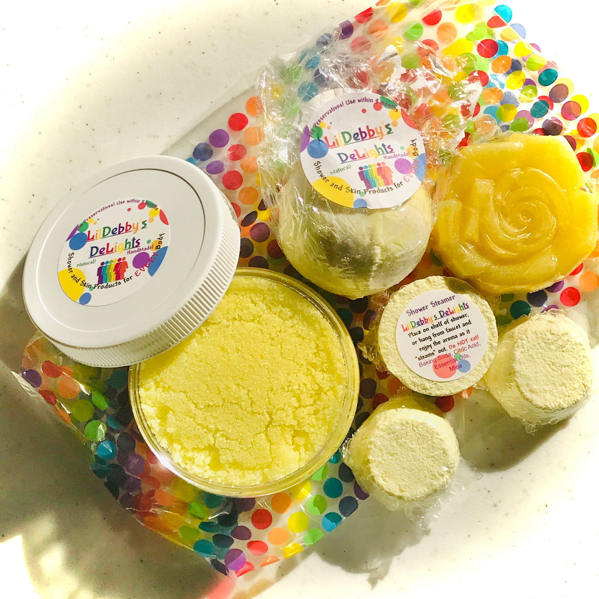 Yellow HAPPINESS Spa gift set including Treasure Bath Bomb, Shower Steamers, Sugar Scrub AND Lotion Bar with FREE shipping.