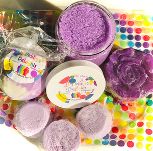 Purple CALM Spa gift set including Treasure Bath Bomb, Shower Steamers, Sugar Scrub AND Lotion Bar with FREE shipping.