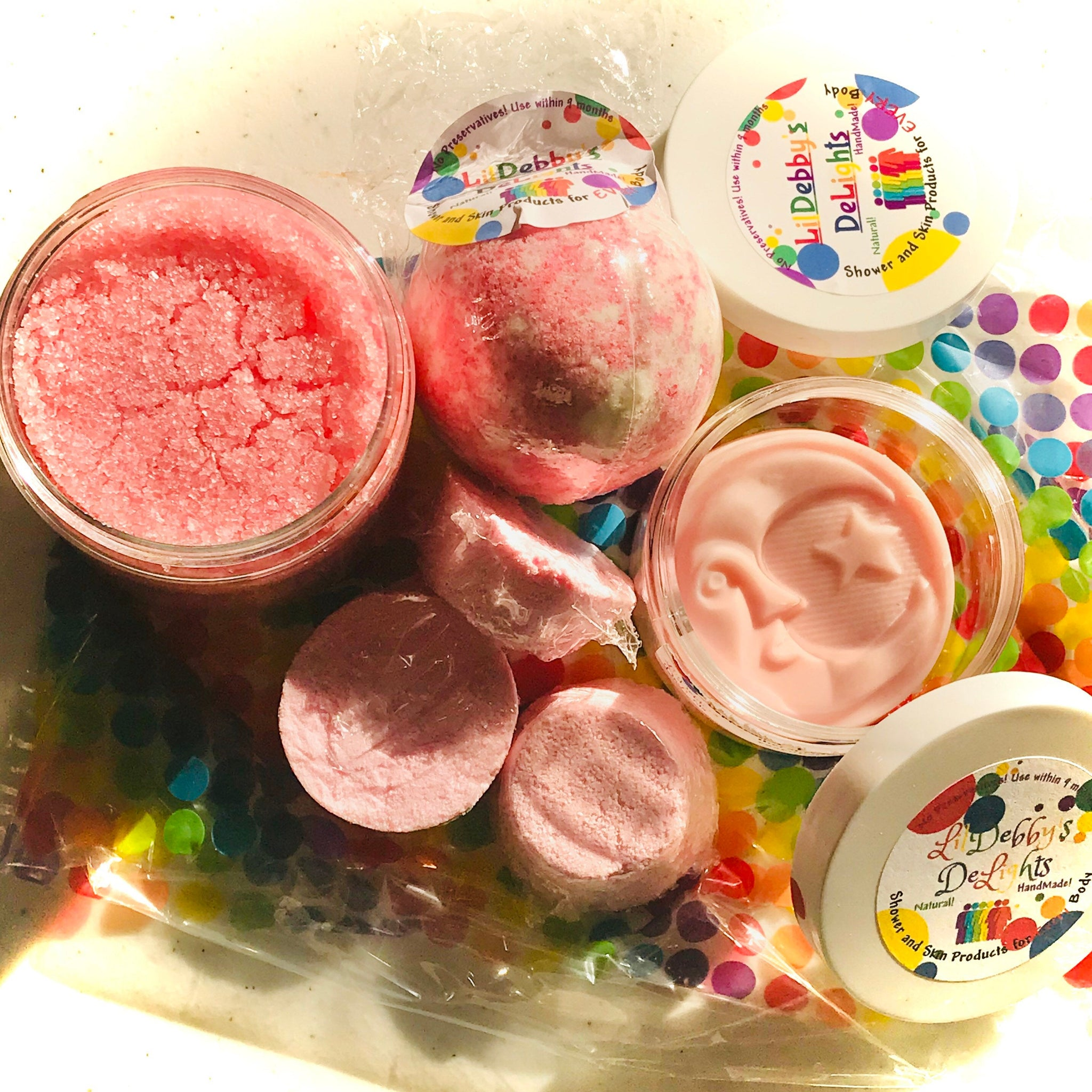 Pink ENERGY Spa gift set including Treasure Bath Bomb, Shower Steamers, Sugar Scrub AND Lotion Bar with FREE shipping.